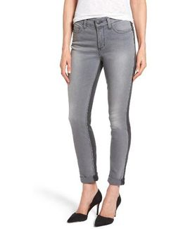 Two Tone Stretch Girlfriend Jeans