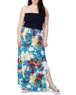 Strapless Mixed Media Maxi Dress