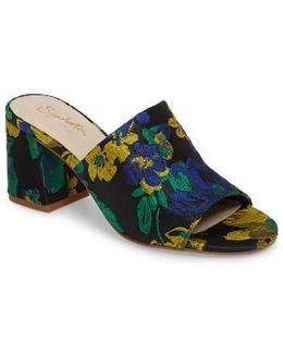 Commute Floral Flared Heel Sandal
