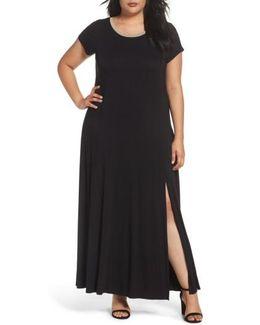 Metallic Trim Jersey A-line Maxi Dress