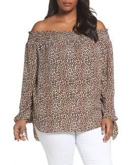 Off The Shoulder Leopard Print Top