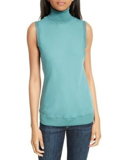 Turtleneck Bias Silk Top