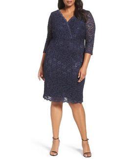 Surplice Sequin Lace Sheath Dress