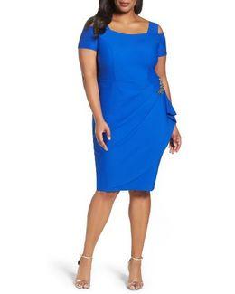 Embellished Cold Shoulder Sheath Dress