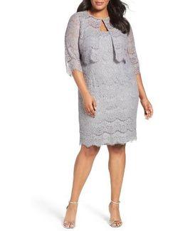 Lace Sheath Dress With Jacket