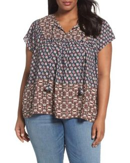 Mix Border Print Blouse