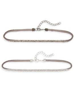 Set Of 2 Rhinestone Chokers