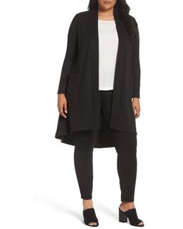 High/low Long Fleece Cardigan