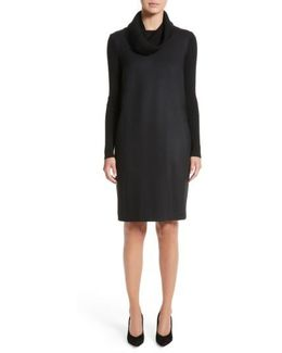 Cancan Wool Jersey Dress With Removable Knit Cowl