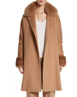 Camel Hair Coat With Genuine Fox Fur & Genuine Mink Fur Trim