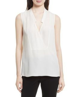 Classic Crossover Sleeveless Silk Top