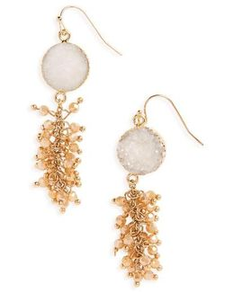 Agate Fringe Drop Earrings