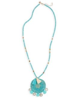 Howlite Medallion Pompom Necklace