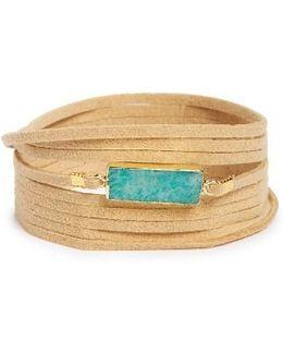 Suede & Amazonite Wrap Bracelet