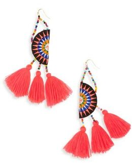 Tassel Embroidered Earrings