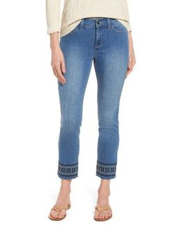 Sheri Embroidered Stretch Slim Ankle Jeans