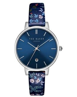 Kate Floral Leather Strap Watch