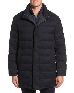 Stand Collar Quilted Down Coat With Inset Bib