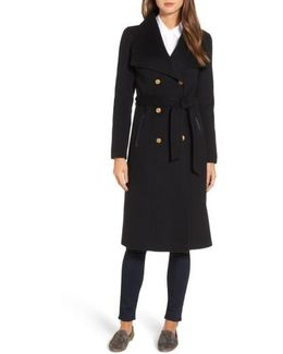 Double Breasted Wool Blend Long Military Coat