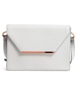 Magsie Bar Detail Leather Envelope Clutch