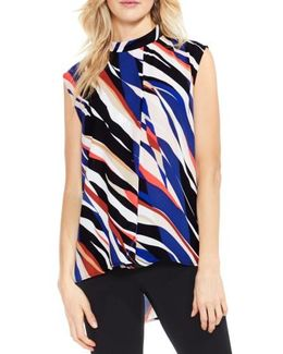 Graphic Stripe Cap Sleeve Blouse