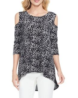 Animal Whispers Cold Shoulder Top