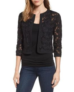 Floral Embroidered Mesh Cardigan