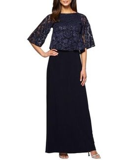 Sequin Lace Popover Gown
