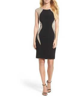 Beaded Jersey Body-con Dress