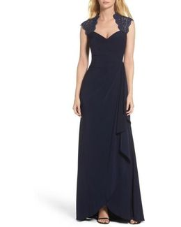 Side Drape Metallic Lace & Jersey Gown
