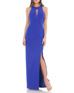 Cutout Empire Waist Column Gown