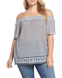 Off The Shoulder Paisley Stripe Top