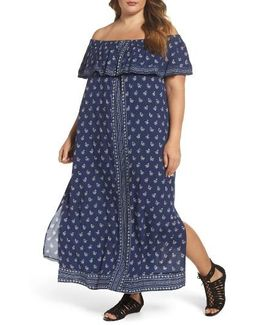 Paisley Off The Shoulder Maxi Dress