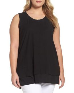 Vince Camuto Mixed Media Sleeveless Top