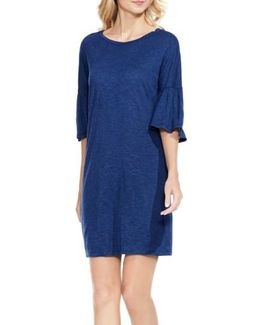 Bell Sleeve Jersey Shift Dress