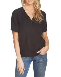 V-neck Button Front Blouse