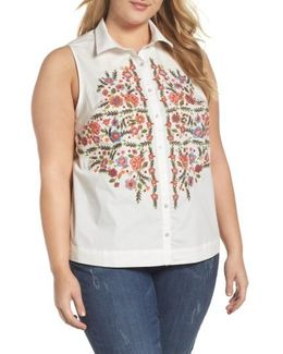 Embroidered Stretch Cotton Shirt