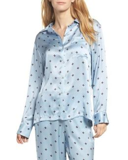 Print Silk Pajama Top