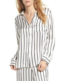 Stripe Silk Pajama Top