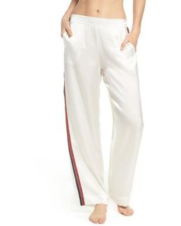 Side Stripe Silk Pajama Pants