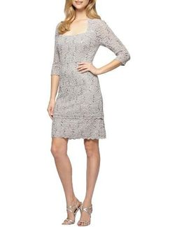 Sequin Lace Shift Dress