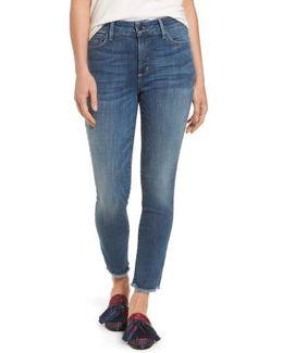 Ami Frayed Hem Stretch Skinny Ankle Jeans