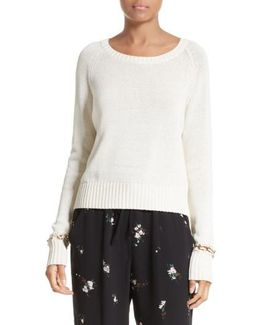 Dree Embellished Cuff Cotton Sweater