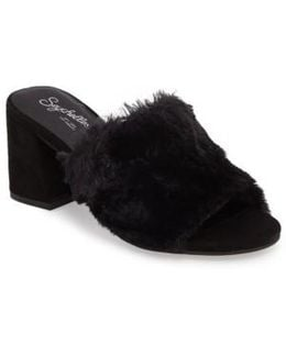 Nobody Else Faux Fur Slide Sandal