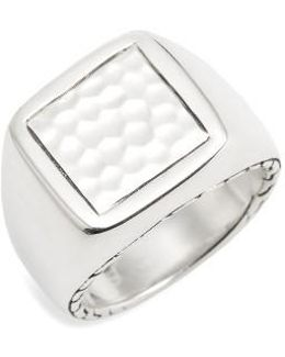 Classic Chain Hammered Signet Ring