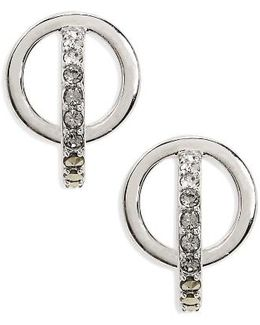 Silver Sparkle Circle Stud Earrings