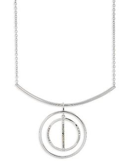 Silver Sparkle Circle Pendant Necklace