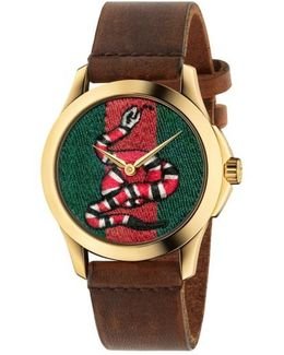 Snake Insignia Leather Strap Watch