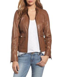 Patch Pocket Leather Biker Jacket