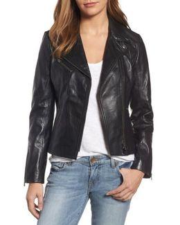 Asymmetrical Zip Leather Biker Jacket